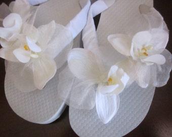 Wedding Flip Flops/Wedges for Bride. White Silk Orchids with Organza.Satin Ribbon. Beach Wedding. Bridal Flowers.