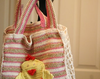 Reusable Shopping Bag, Crochet Cotton Bag, Bag With Chickens And Pockets, Going Green Shopping Bag
