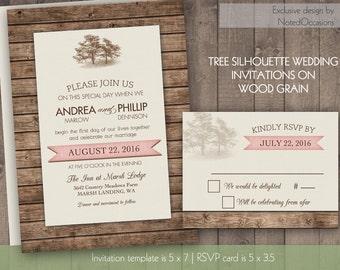 Rustic Oak Tree Wedding Invitation Set | Country Wedding Barn Wedding |  Printable Wedding Invitation | Tree on Woodgrain with Banner