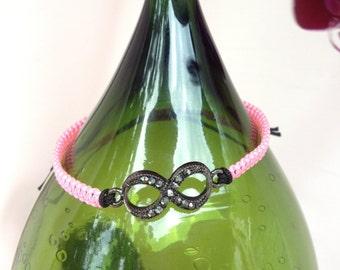 Florescent Pink and Black Knotting Cord Infinity Bracelet