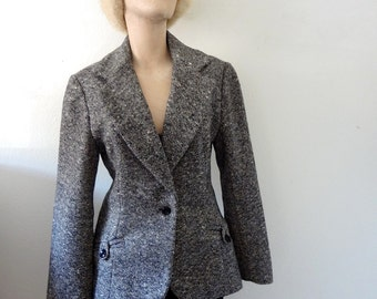 1970s Tweed Blazer / wool riding style jacket / preppy fall & winter fashion