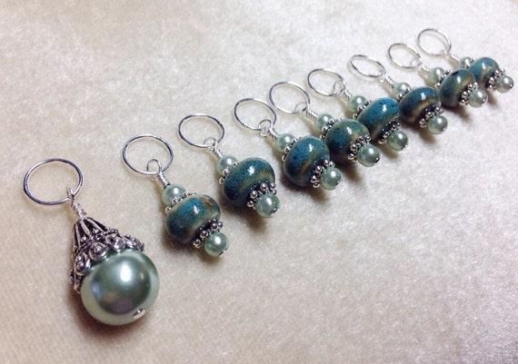 Beaded Knit Stitch Marker Pattern : Knitting Stitch Markers Beaded SNAG FREE Stitch Marker Set