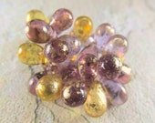 25 Amethyst Plum and Honey Gold Czech Glass 6mm x 9mm Teardrops with gold Picasso finish Jewelry bead drops