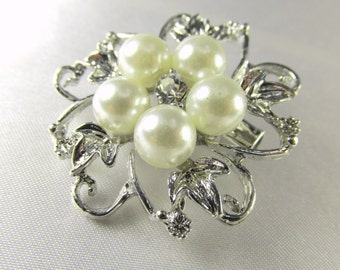 Large Antique Silver, White Pearl and Clear Crystal Flower Brooch for bridal bouquet or jewelry decoration
