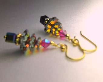 Small Christmas Tree Earrings in Swarovski Volcano on 14k gold fill wires