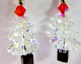 Christmas Tree Earrings in Swarovski Crystal AB, Red and Black on Sterling Silver Wires
