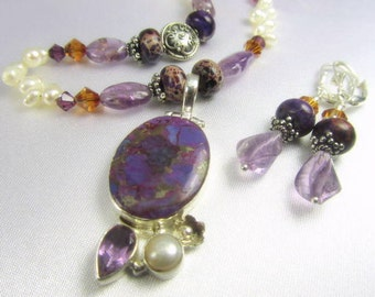 Necklace and Earring Set in Purple Jasper, Amethyst and Copper Turquoise with Freshwater Pearls