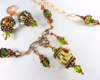 Olive Green, Rust and Copper Borosilic Lampwork Glass and Swarovski Necklace and Earring Set