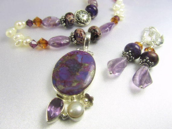 Set in Purple Jasper, Amethyst and Copper Turquoise and White Freshwater Pearls Necklace and Earrings in sterling silver