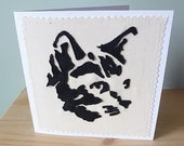 Cat appliqued art card,  blank, textile