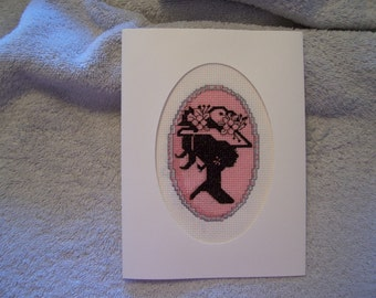 Handstitched Cameo Note Card-Pink with Hat
