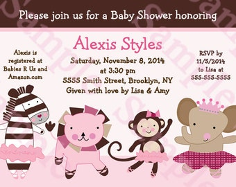"Personalized/Customized ""Tutu Cute/Girl Ballerina Animals"" Printable Baby Shower/Birthday Invitation 5x7 Digital File U Print yourself"