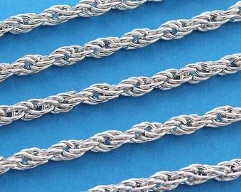 Silver Tone Braided Chain - 3 Meters ( 9.75 Feet ) - FD70