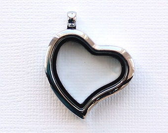 2 Floating Charm Locket Heart Shape Glass - LL30
