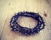 Bohemian black  wrap bracelet. Sparkle crystal hematite beads beaded crochet  friendship wrap bracelet. Nature inspired jewelry