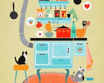 illustration: Lets cook together- limited edition art print