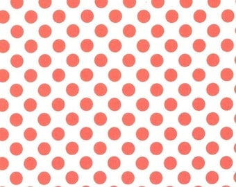 Michael Miller, Fabric by the Yard, Dot Fabric, Ta Dot in Salmon, The Littles, One Yard