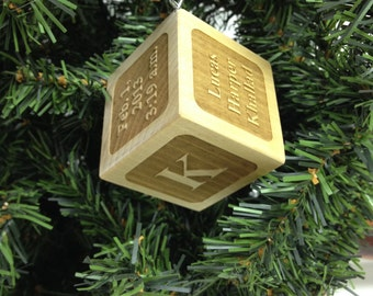 Personalized Wooden Baby Block Ornament