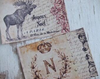 Christmas notecards - vintage style notecards -  deer notecards -  blank notecards - embellishments