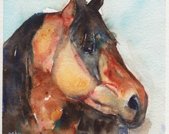 horse painting in watercolor, Fearless