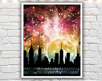 mixed media painting, fine art print, new york city skyline, colorful wall art, nyc skyline, nyc art, new york city art, giclee print