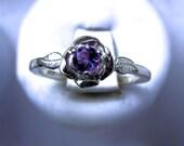 Sweet Rose Ring Sterling Silver Tiny Purple Amethyst Sapphire Blue White pink Topaz Tanzanite size 3 4 5 6 7 8 9 10 11 Handmade Fine Jewelry