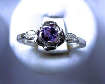 Sweet Rose Ring Sterling Silver Tiny Purple Amethyst Sapphire Blue White pink Topaz Tanzanite size 3 4 5 6 7 8 9 10 11 Handmade Fine Jewelry