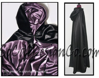 Black Full Length Hooded Cloak with Purple Satin Lining