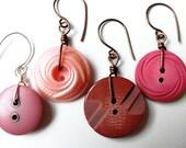 Mauve Button Earrings - Vintage Buttons