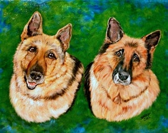 Hand Painted Custom Pet Portrait 11 x 14 Portrait of Your 2 Dogs or Cats or Horses Pet Lover Pets Portrait Personalized