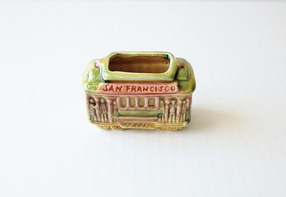 San Francisco Souvenir Toothpick Holder Vintage Trolley Tiny Mini Cable Car Travel Vacation Collectible Memorabilia Kitsch Home Decor