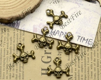20pcs of Antiqued brass day of the dead skull charm jewelry findings pendant ,charm skull pendant findings 18x20mm