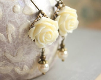 Ivory Cream Rose Earring Flower and Pearl Drop Floral Dangle Leverback Nickel Free Vintage Style Romantic Country Chic Bridal Jewelry