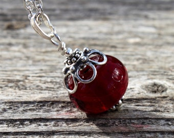 Deep Red Glass Pendant, Lampwork bead, Glass Jewelry, Red, Glass Pendant, Lampwork, Sterling Silver, Red Glass Bead