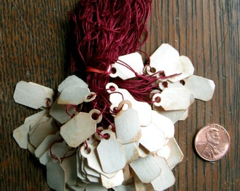 TAGS 100 small Tea Stained with string, Jewelry Tag,  Primitive, price, aged, stained, Shop, Prim, Folk, Rustic, Cottage, Paper, Vintage,