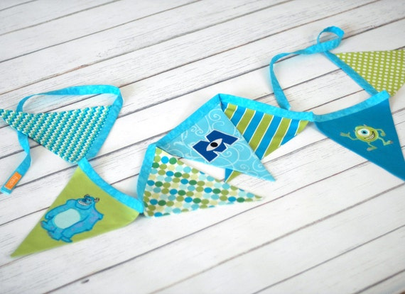 Monsters Inc BUNTING Fabric Flag Banner by freshsqueezedbaby