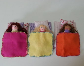 3 sets of Sleepover Friends Finger Puppet with Accessories, Sleeping Friends Dolls BFF Dolls