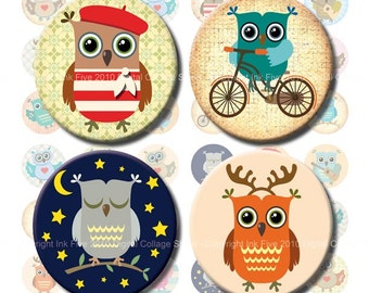 Digital Collage Sheet Little Owls 1  inch and 1.313 inch circles images. Printables & downloads images. Bottle caps and button machine size