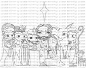 Nativity ~ set of 9 digital stamps + free image