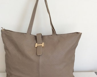Elegant handmade gray cow leather large tote