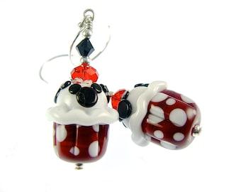 Unique Cupcake Earrings, Mouse Lampwork Earrings, Statement Earrings, Red White Polka Dot Earrings, Glass Bead Earrings