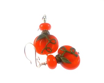 Halloween Lampwork Earrings, Pumpkin Dangle Earrings, Unique Glass Bead Earrings, Handmade Lampwork Jewelry