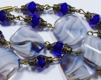 Vintage Blue with White Swirls Glass & Crystal Bead Necklace