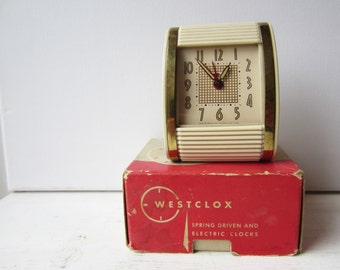Vintage Ivory Westclox Travalarm No 451 - Luminous Spring Driven Alarm Clock - With Original Box - Ivory and Gold