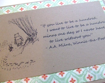 Live To Be A Hundred - Winnie the Pooh Quote - Classic Piglet and Pooh Note Card Green Floral Border