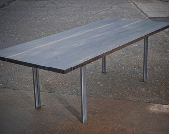 Oak throbbed table with Metal Legs