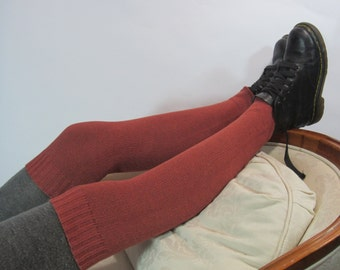 Thigh High Leg Warmer Boot Socks Over the Knee Thick Knit Sock Orange Red Rust Cotton A1389