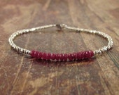 Ruby Bracelet Ruby Bracelets Gift for Women July Birthstone Womens Beaded Bracelets Hill Tribe Silver Beads Bead Gifts for Her Girlfriend