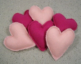 Mini Heart Pillows Pink and Rose/Purple set of 6