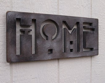 HOME Oak SIGN in Latte CLEARANCE